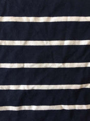 Navy Blue And White Stripe  Sinker Cotton Fabric
