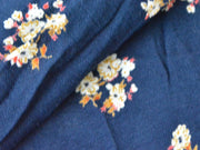 Navy Blue Beige White Flowers Digital Printed Crinkled Viscose Crepe Fabric