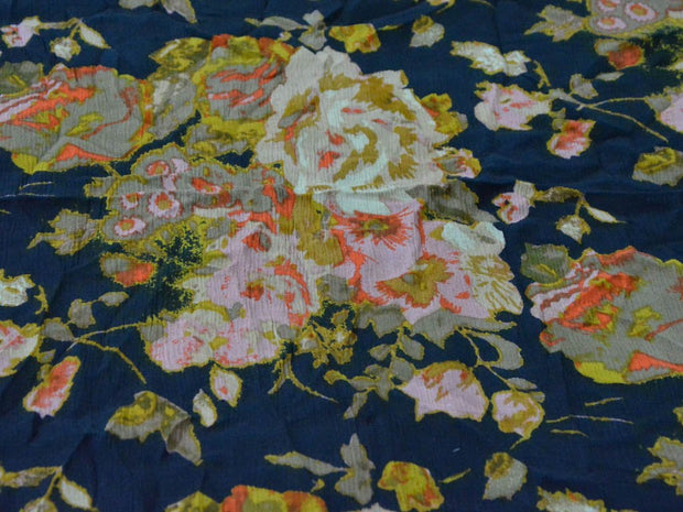 Navy Blue Multicolour Flowers Digital Printed Crinkled Viscose Crepe Fabric