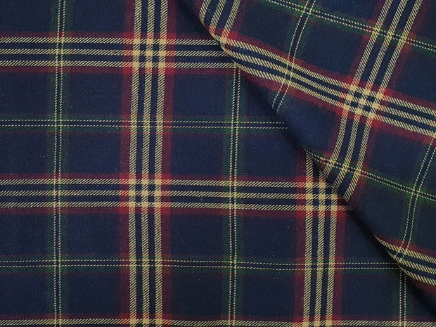 Navy Blue Beige Yarn Dyed Twill Mild Checks Cotton Fabric
