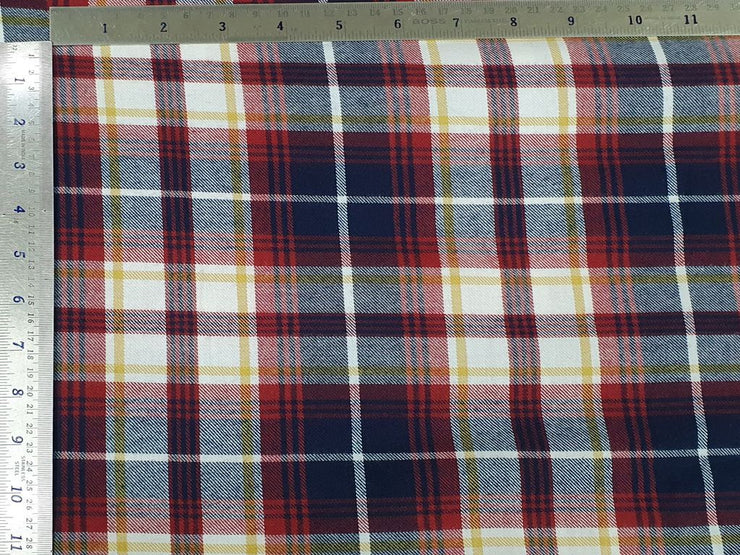 Navy Blue Red and White Plaids Checks Yarn Dyed Twill Cotton Fabric (4543993086021)