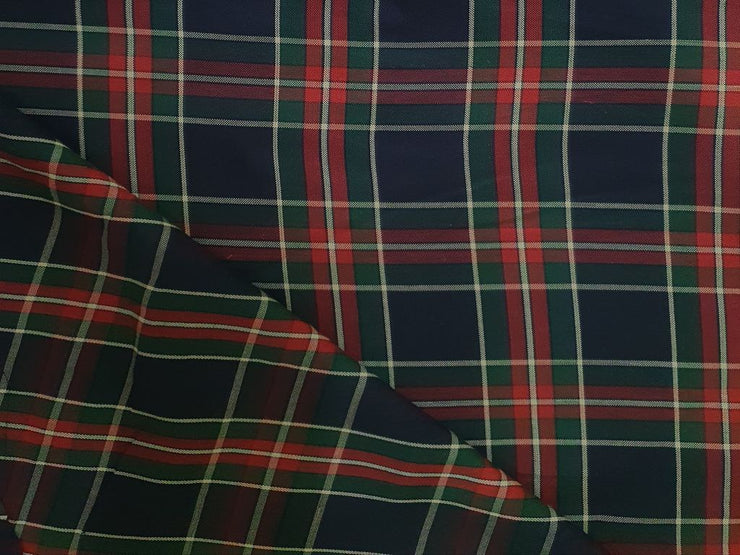 Navy Blue Red and Green Yarn Dyed Oxford Checks Cotton Fabric (4545286078533)