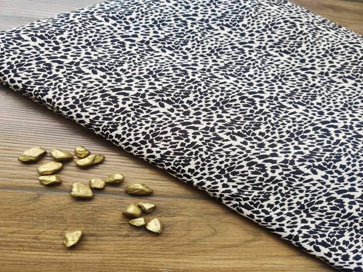 Black Off White Base Animal Print Poly Crepe Fabric (4523431100485)