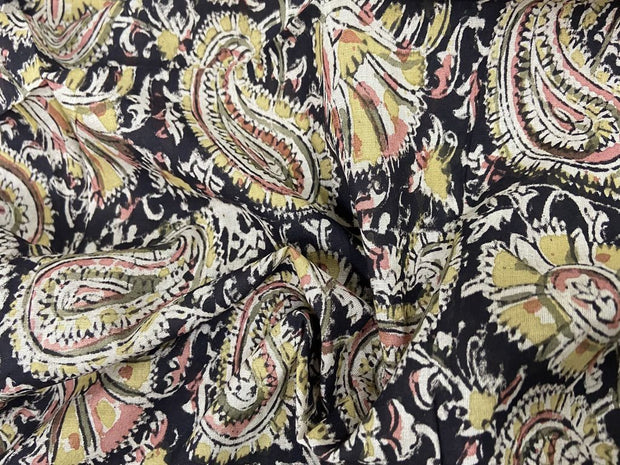 Pale Black Paisleys Kalamkari Printed Cotton Fabric