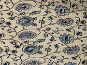 Off White Blue Paisleys Flowers Kalamkari Printed Cotton Fabric
