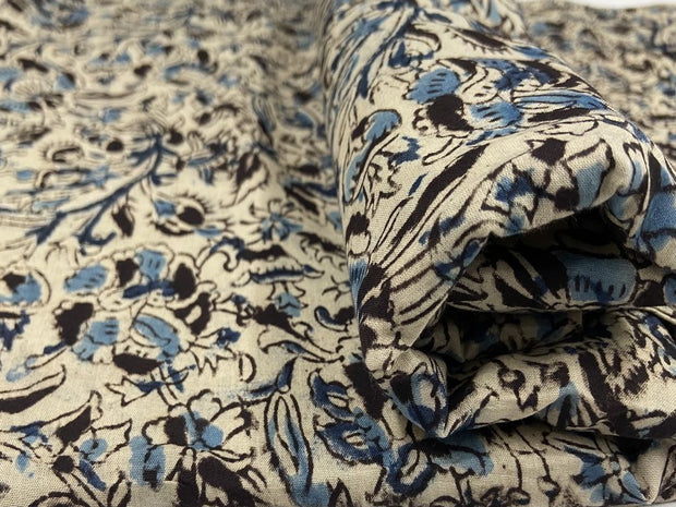 Off White Blue Flowers Kalamkari Printed Cotton Fabric