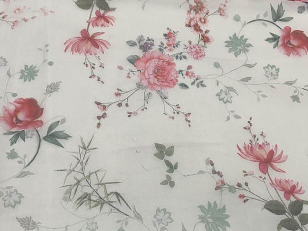 Off White Pink Flowers Printed Organza Fabric