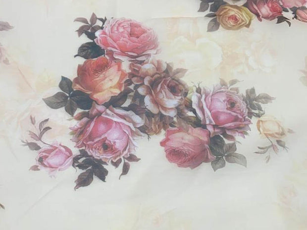 Off White Pink Red Flowers Printed Organza Fabric