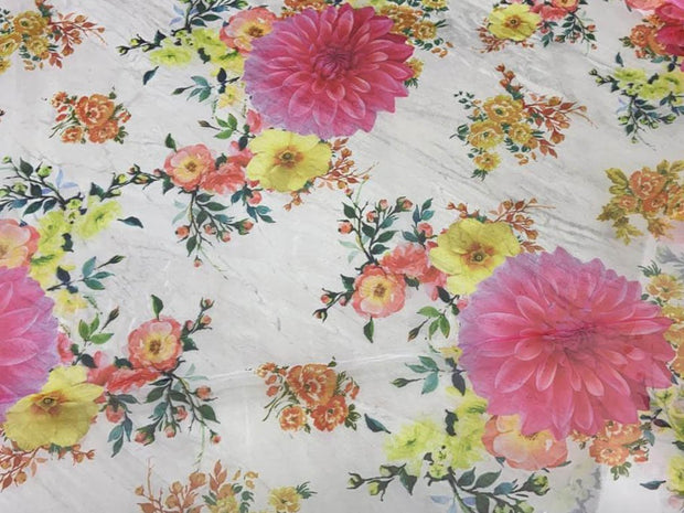 Off White Pink Yellow Flowers Printed Organza Fabric