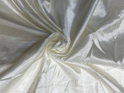 Off White Plain Mill Dyed Poly Silk Fabric