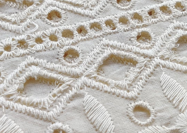 Off White Geometric Schiffli Embroidered Cotton Fabric