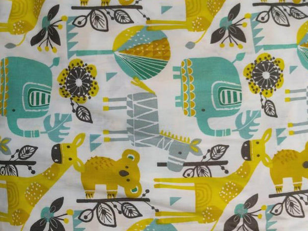 Off White Turquoise Animals Printed Poplin Cotton Fabric