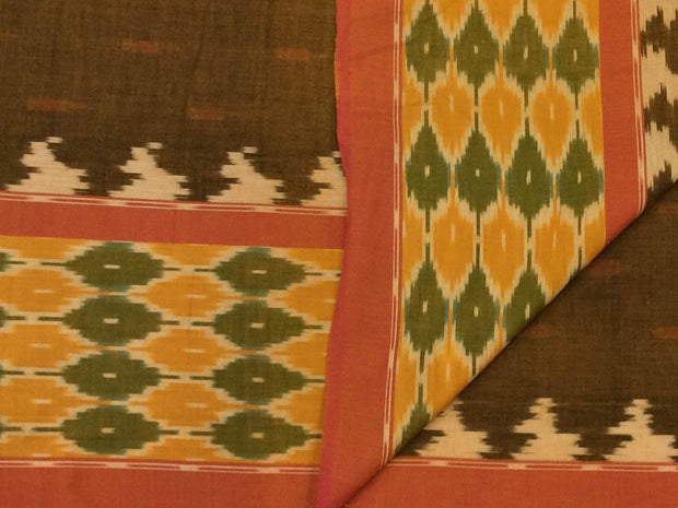 Olive Green Designer Pure Cotton Fabric with Ikat Border