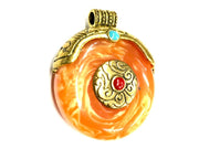 Orange Circular Stone Pendant with Golden Cap (40x35 mm)