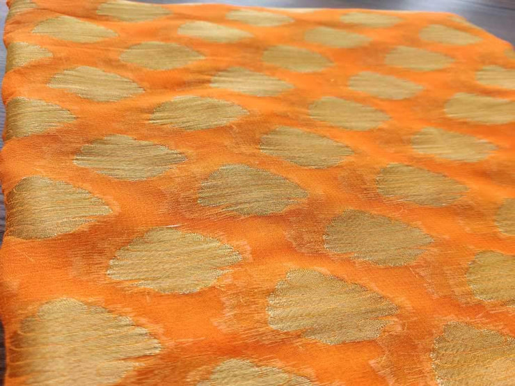 Orange Golden Buttas Fine Georgette Fabric (4543927550021)