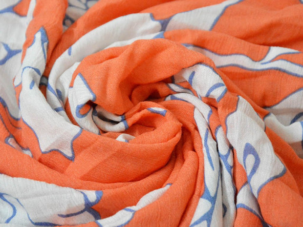 Orange Flowers Crinkled Digital Printed Viscose Crepe Fabric