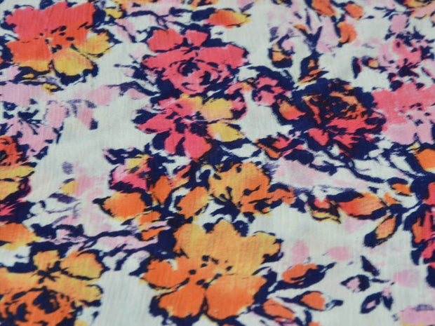 Orange Pink Flowers Digital Printed Crinkled Viscose Crepe Fabric