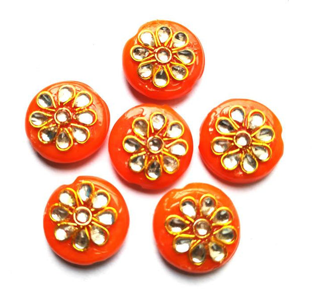 Orange Circular Kundan Stone Beads (18 mm) (4543933710405)