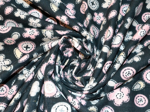 Black Floral Corduroy Fabric
