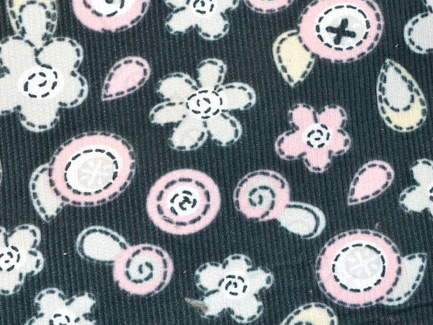 Black Floral Corduroy Fabric | The Design Cart (1857485504546)