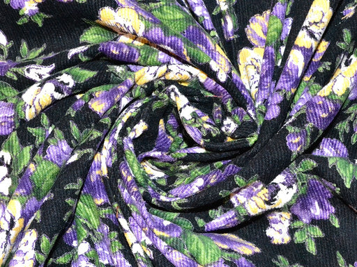 Black Purple Floral Corduroy Fabric