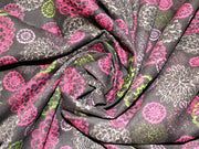 Dark Brown Multicolour Floral Corduroy Fabric | The Design Cart