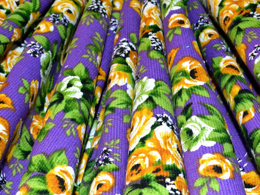 Purple Floral Corduroy Fabric