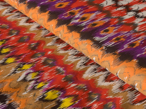 Multicolour Cotton Hand Dyed Ikat Woven Fabric