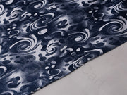 Blue White Abstract Cotton Lycra Fabric | The Design Cart