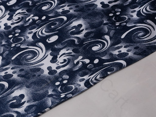 Blue White Abstract Cotton Lycra Fabric