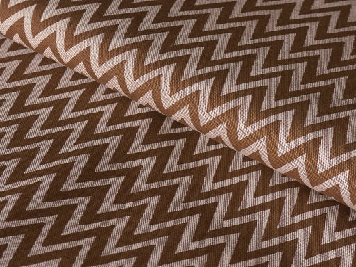 Brown White Chevron Cotton Lycra Fabric