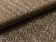 Olive Green White Abstract Cotton Lycra Fabric | The Design Cart