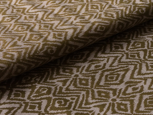 Olive Green White Abstract Cotton Lycra Fabric