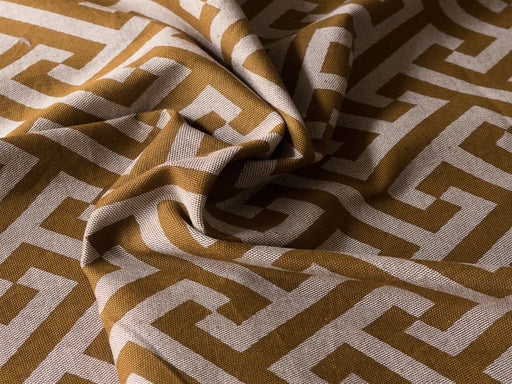 Brown White Geometric Cotton Lycra Fabric