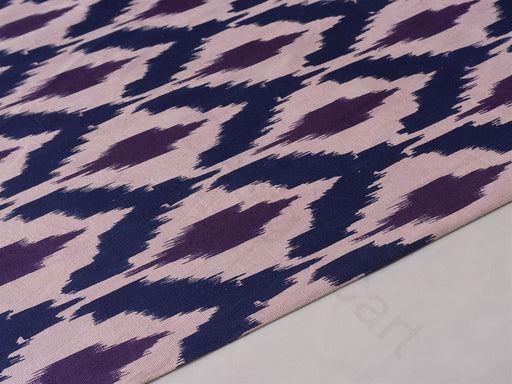 Blue Purple Ikat Print Cotton Lycra Fabric