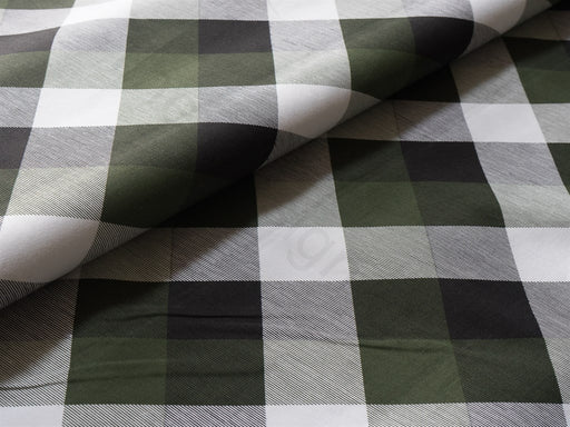 Green Black Checks Cotton Lycra Fabric