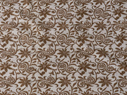 Brown Flowers Cotton Lycra Fabric | The Design Cart