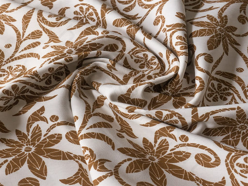 Brown Flowers Cotton Lycra Fabric