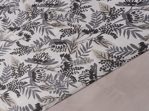 Black Gray Floral Cotton Lycra Fabric