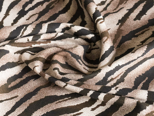 Brown Zebra Stripes Cotton Lycra Fabric