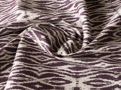 Purple White Abstract Cotton Lycra Fabric