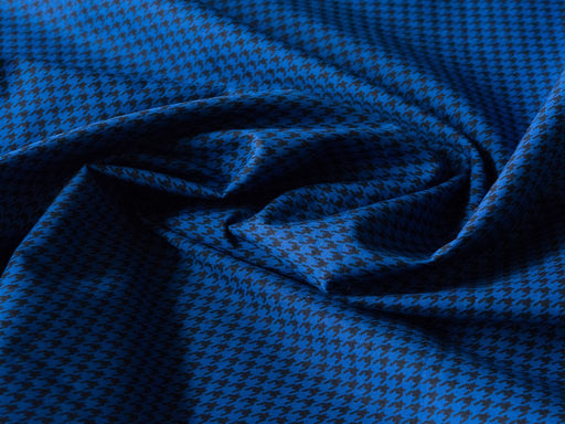 Blue Houndstooth Cotton Poplin Screen Printed Fabric