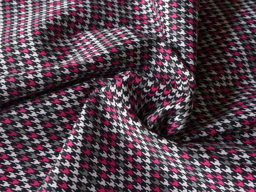 Pink Black Abstract Houndstooth Print Cotton Lycra Fabric