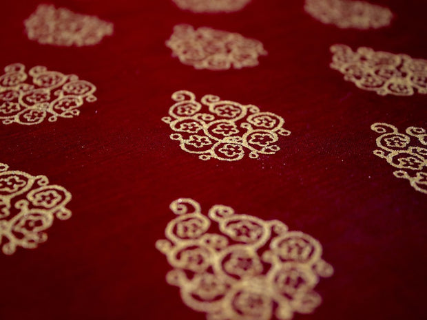 Maroon Motifs Polyester Chanderi Fabric | The Design Cart (4263316717637)
