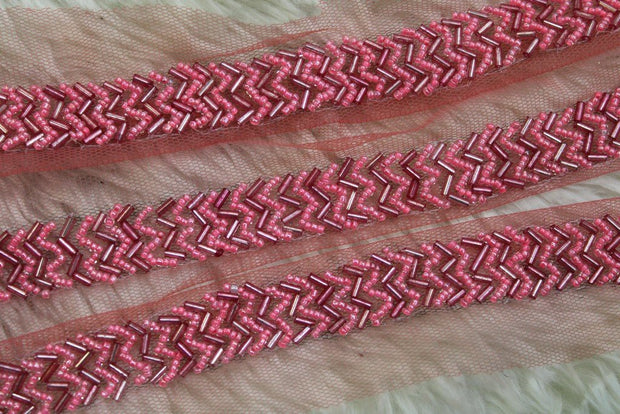 Pink Beads Work Embellished Lace Border