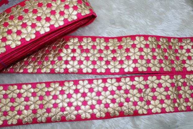 Pink Floral Gota Work Lace Border