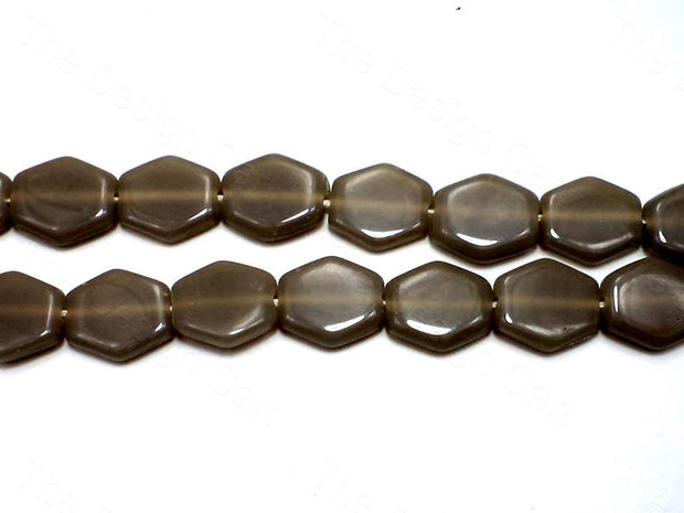 Fire Polished Grey Hexa Glass Beads