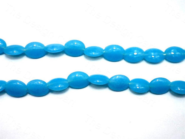 Fire Polished Blue Disc Glass Beads