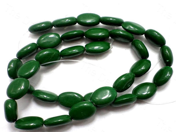 Green Oval Glass Beads