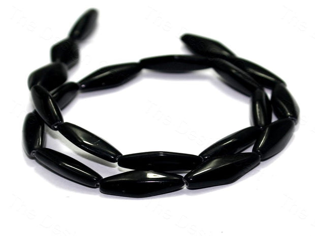 Fire Polished Black Oval Glass Beads
